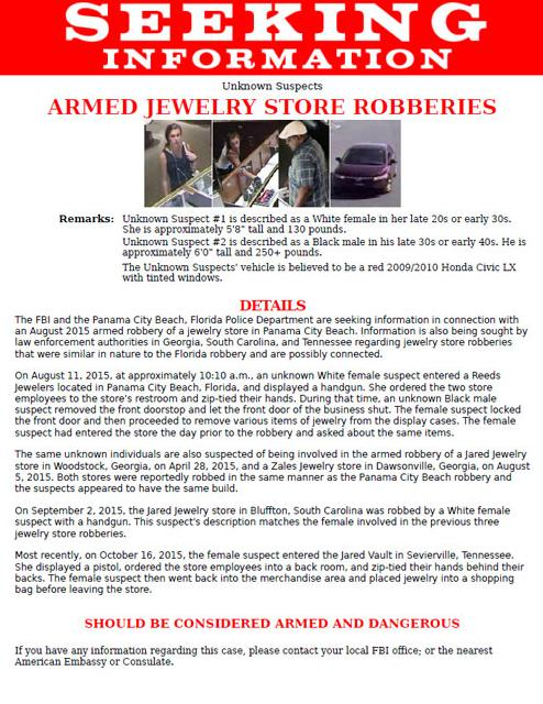 FBI Expands MultiState Search for Jewelry Store Robbery Suspects FBI