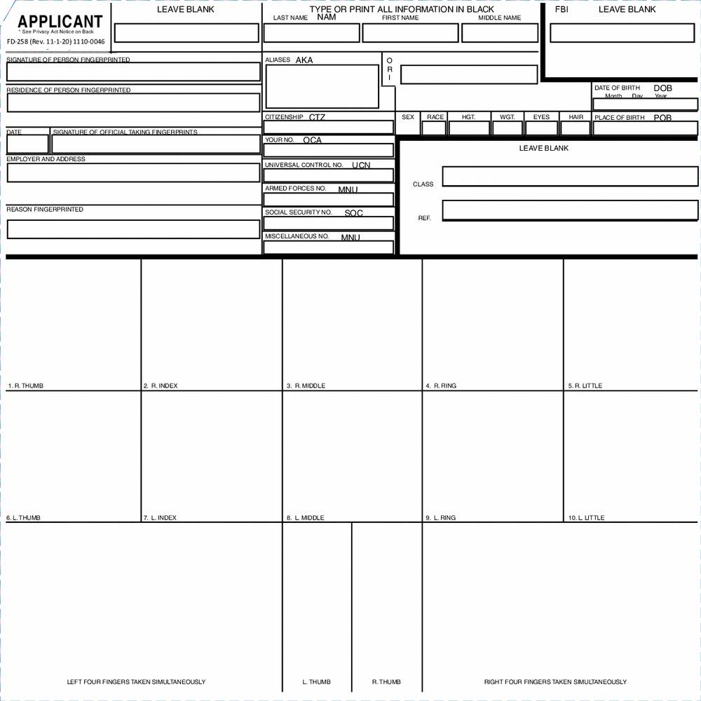 Fingerprints and other biometrics fbi applicant fingerprint form fd 258 falaconquin
