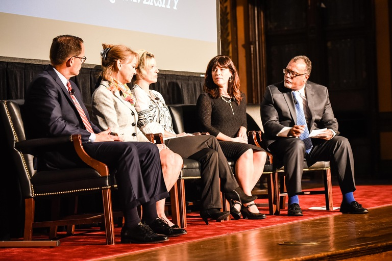 A panel discussion, which included an opioid researcher and a mother who lost her son to a heroin overdose at age 19, followed a screening of 'Chasing the Dragon: The Life of an Opiate Addict' at Georgetown University on September 21, 2016 in Washington, D.C.