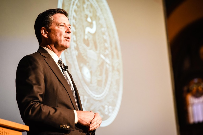 FBI Director James B. Comey speaks at Georgetown University following a screening of the documentary 'Chasing the Dragon: The Life of an Opiate Addict' on September 21, 2016 in Washington, D.C.