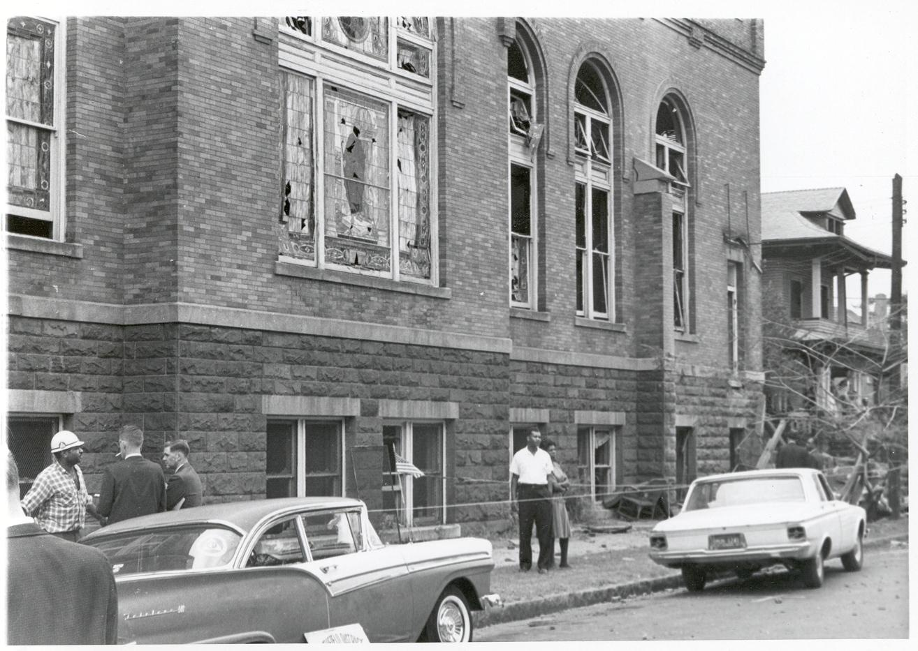 Photo taken at the 16th Street Baptist Church bombing in Birmingham, Alabama on September 15, 1963.