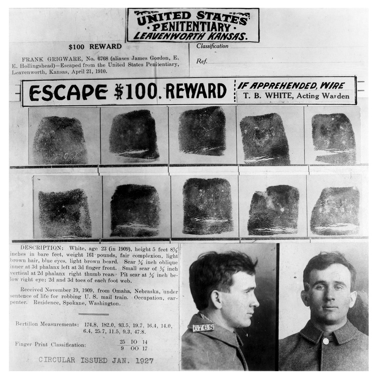 A wanted poster was issued for Frank Grigware, who was serving a life sentence for robbing a mail train in Nebraska when he escaped from the United States Penitentiary in Leavenworth in 1910.
