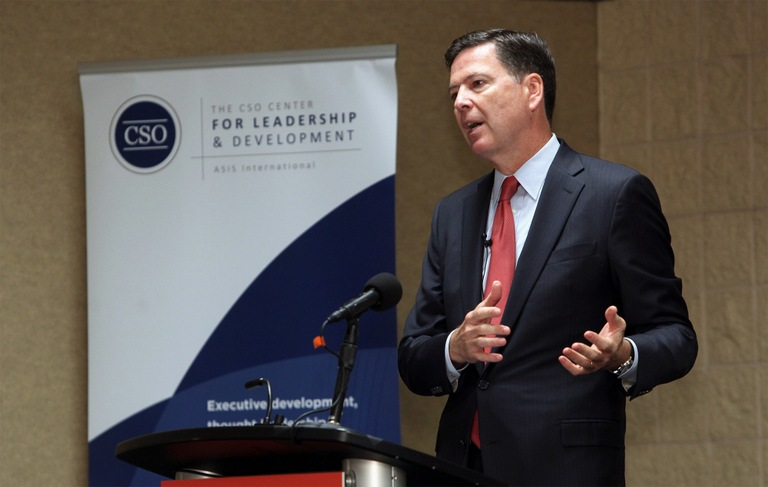 Director Comey addresses members of the CSO Center for Leadership & Development