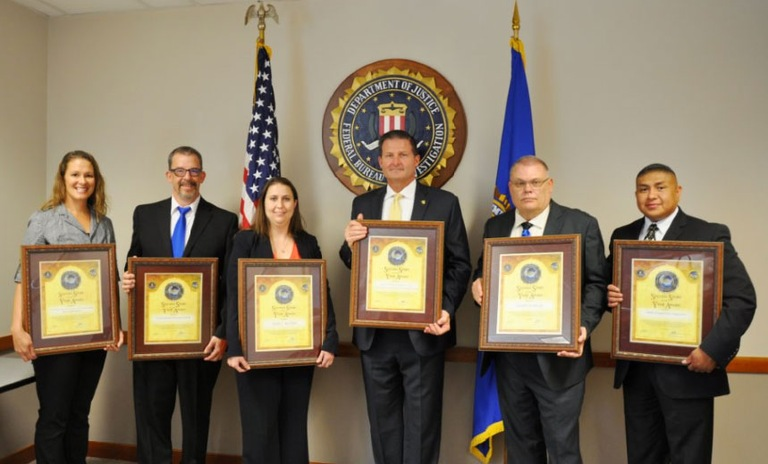 (L-R) LInX Rio Grande Region Major Jessica Tyler, RMIN Regional Projects Coordinator Garry Joseph, RMIN Criminal Analyst Sarah C. Jex Hart, NCIS Executive Assistant Director Chris Cote, Laguna Police Department Investigator David Clendenin, Laguna Police Lieutenant Greg Concho.