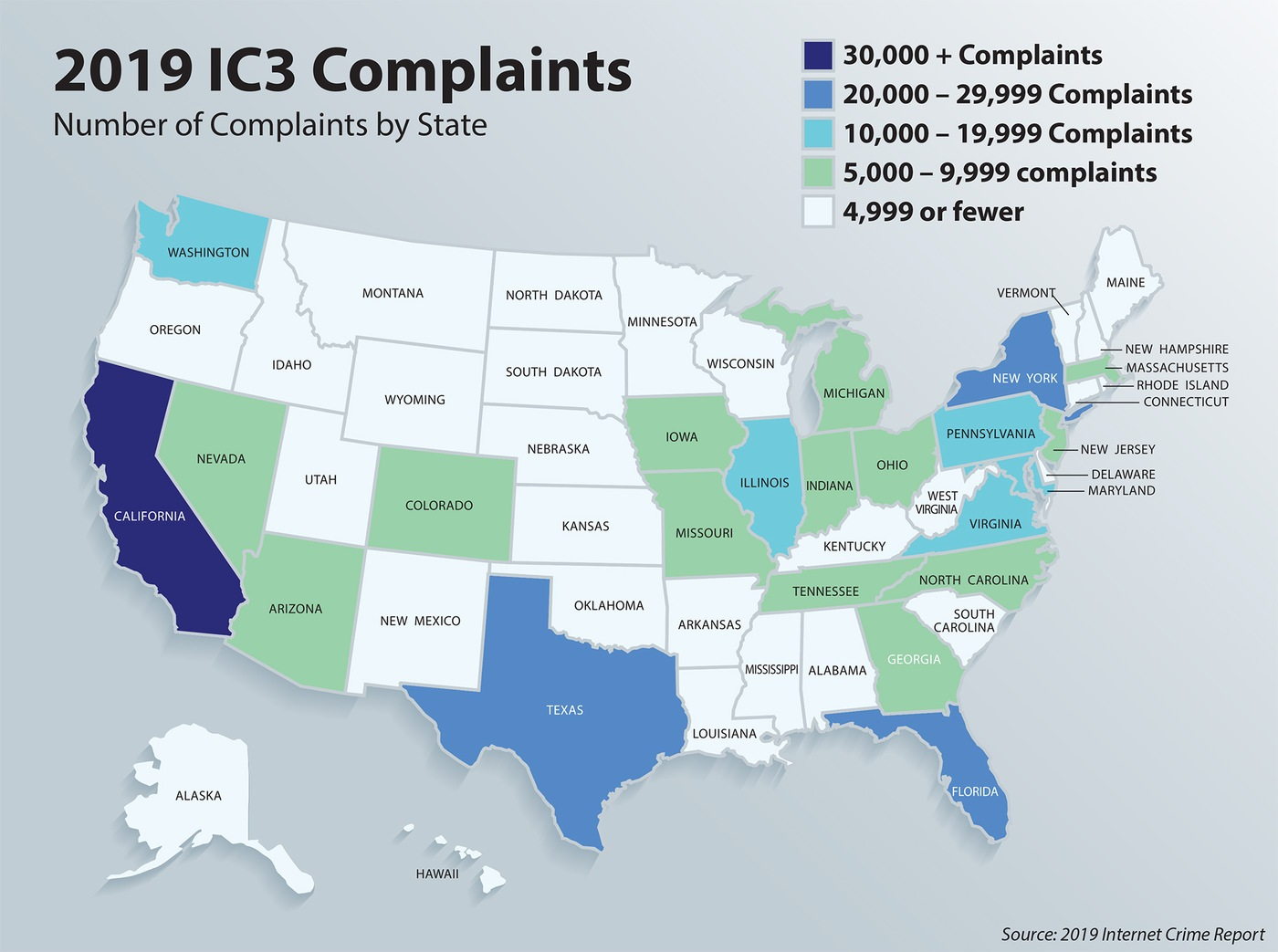 Infographic depicting the number of complaints to the Internet Crime Complaint Center by state in 2019.