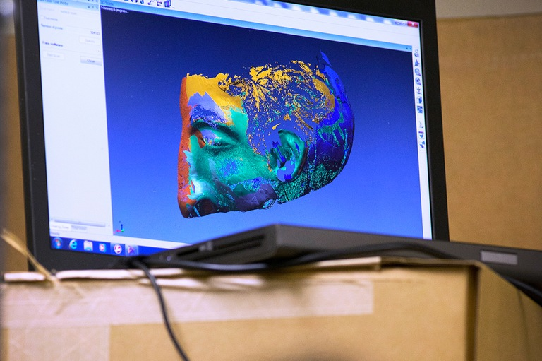 A 3D scan of an original decoy head made by Frank Morris, Allen Clayton West, and John and Clarence Anglin during their escape from Alcatraz in 1962 shown on a computer screen prior to 3D printing.