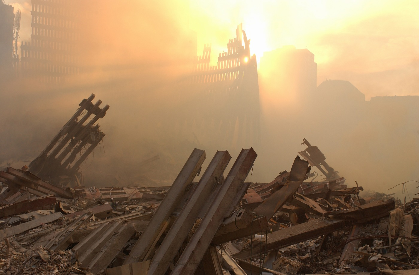 Sun and haze at Ground Zero site in New York after 9/11 attacks.