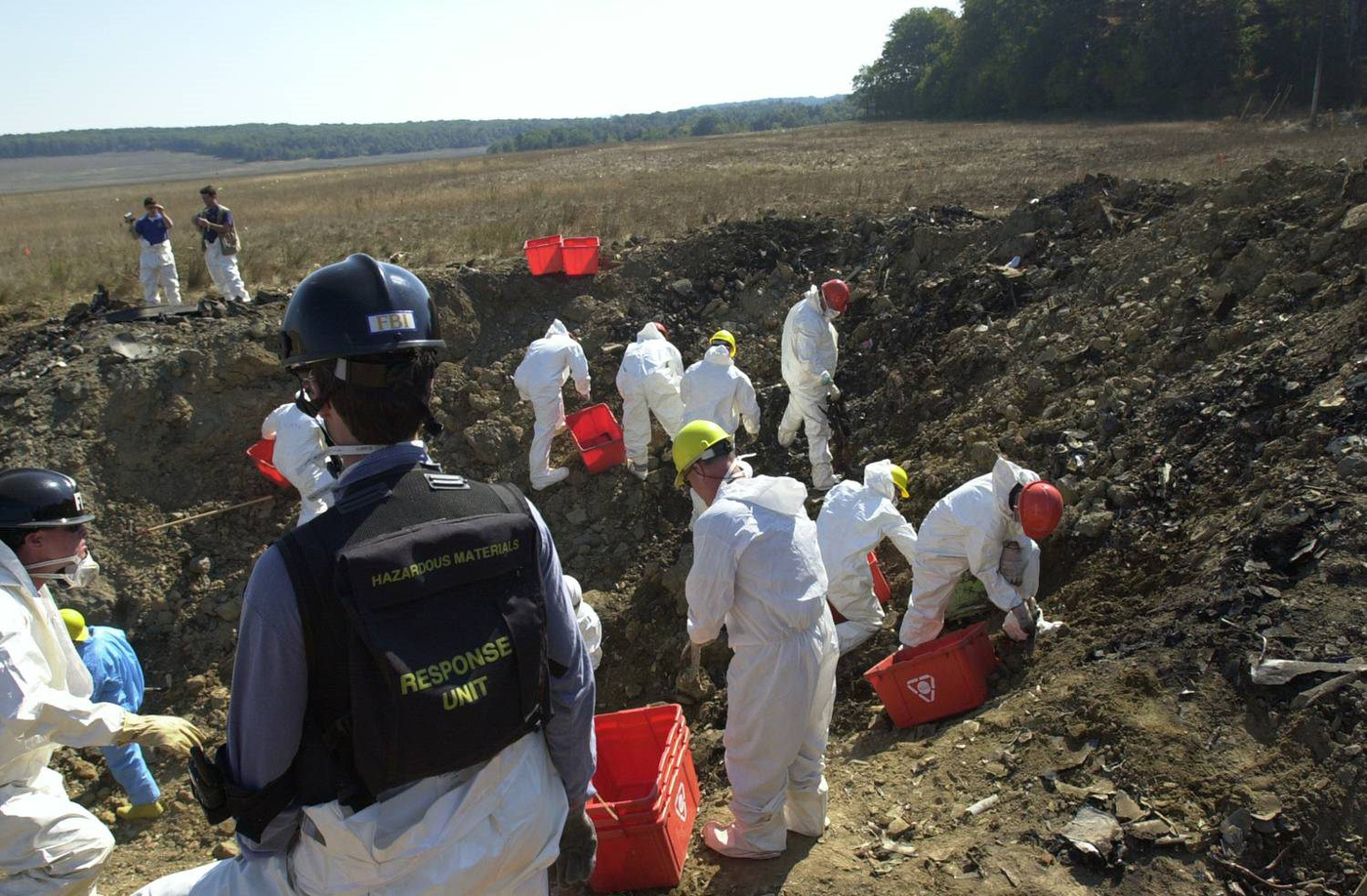 Recovery efforts at site of Flight 93 crash in Shanksville, Pennsylvania.