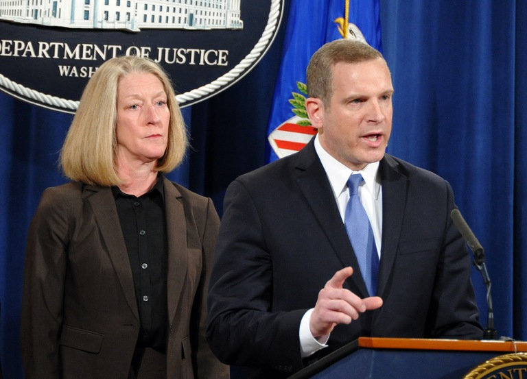 FBI Executive Assistant Director Paul Abbate and DOJ Acting Assistant Attorney General Mary McCord at a March 15, 2017 press conference in Washington, D.C. announcing the indictments in 2014 Yahoo intrusion case.