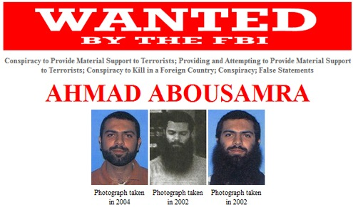 Ahmad Abousamra was indicted after taking multiple trips to Pakistan and Yemen where he allegedly attempted to obtain military training for the purpose of killing American soldiers overseas. On November 5, 2009, a federal arrest warrant was issued for Abousamra in the United States District Court, District of Massachusetts, Boston, Massachusetts, after he was charged with conspiracy to provide material support to terrorists; providing and attempting to provide material support to terrorists; conspiracy to kill in a foreign country; conspiracy; and false statements.
