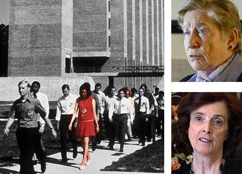 Joanne Pierce Misko, in red and lower right, and Susan Roley Malone, seen at the FBI Training Academy in 1972 and today, were the first women of the modern era to become special agents.