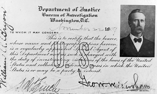 One of the first special agents credentials, dated November 22, 1909.