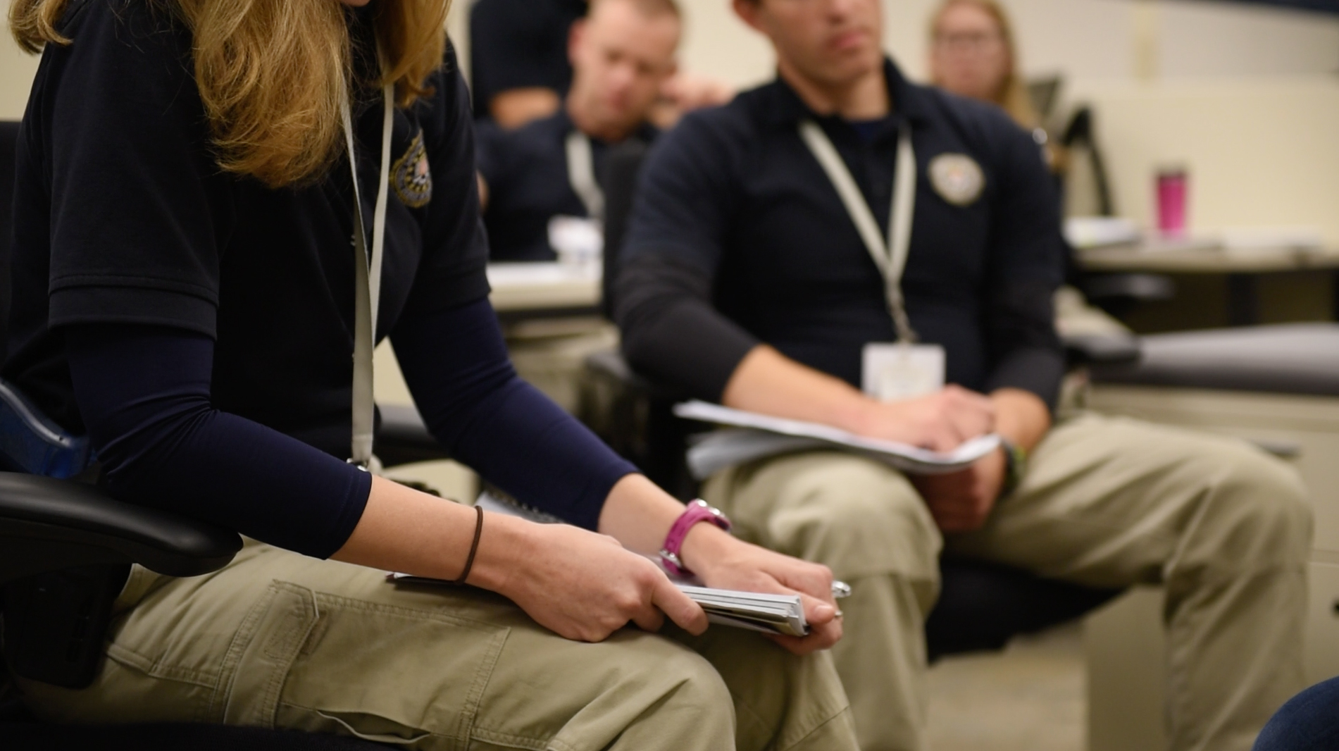 New Agents and Intelligence Analysts Train Together Inside an FBI Academy Classroom