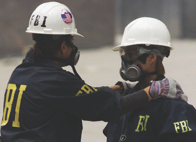Two FBI agents at the site of the World Trade Center in New York on September 16, 2001. Reuters photo.