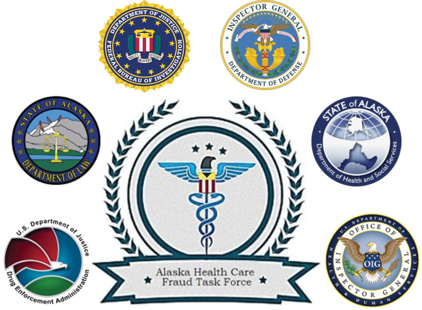 Logo of Alaska Health Care Fraud Task Force with seals from partner agencies including the FBI, DOD, DEA, HHS, Alaska Department of Law, and Alaska Department of Health and Social Services