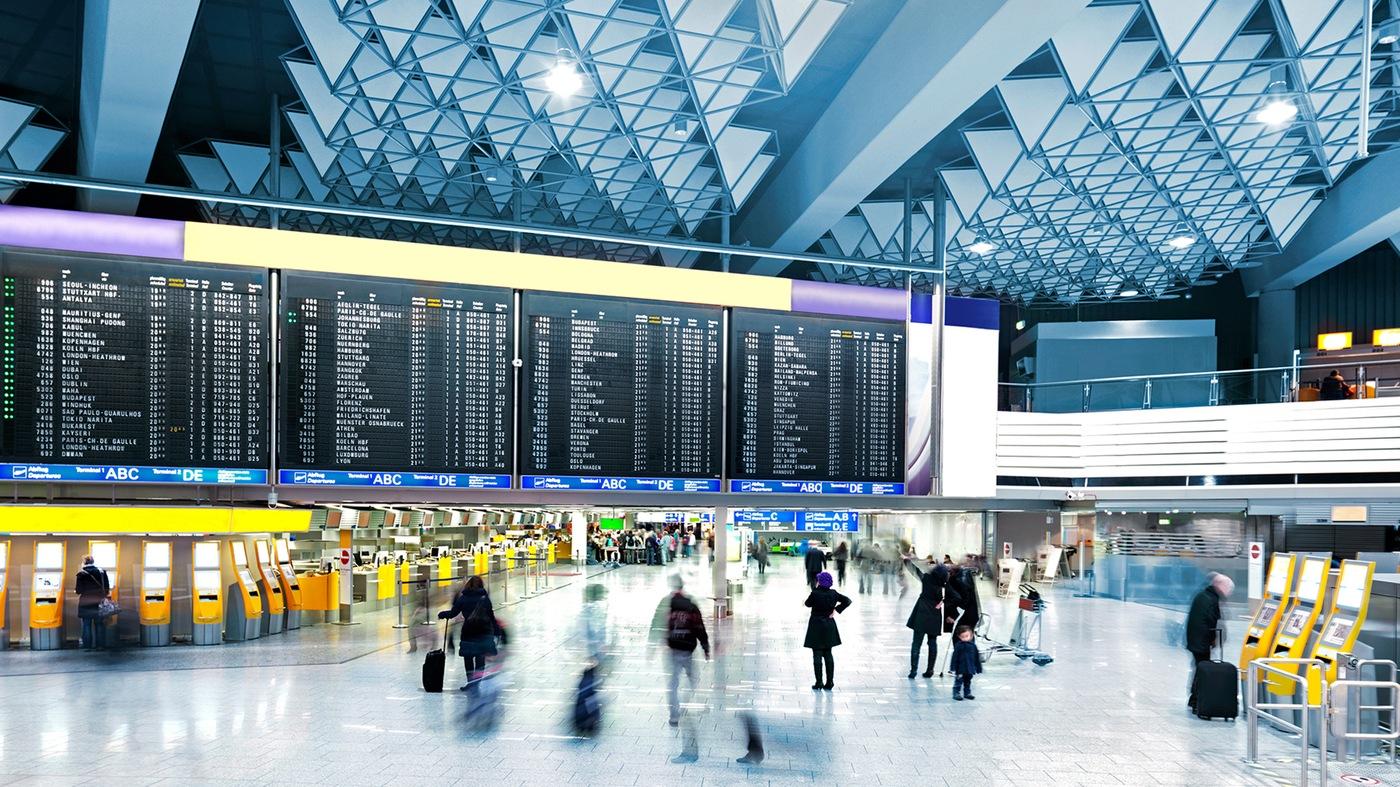Stock image depicting an international airport terminal.
