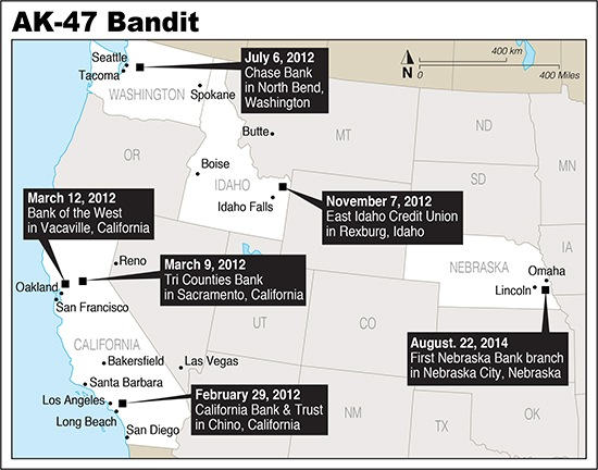 Map showing locaitons of AK-47 Bandit bank robberies.