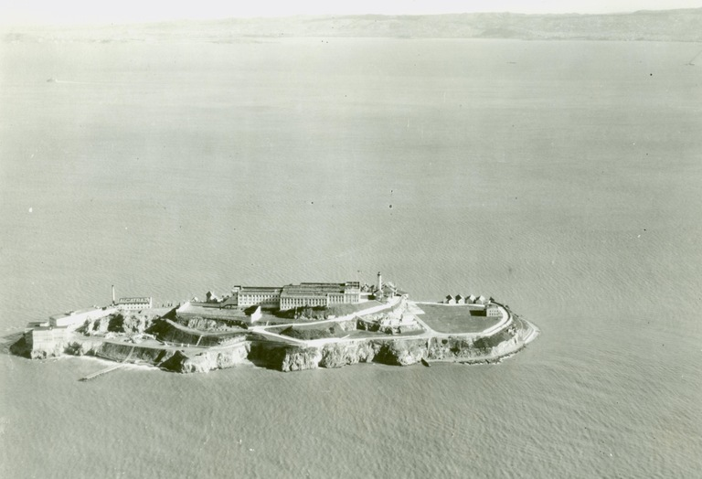 Aerial view of Alcatraz Island and its federal penitentiary in January 1932.