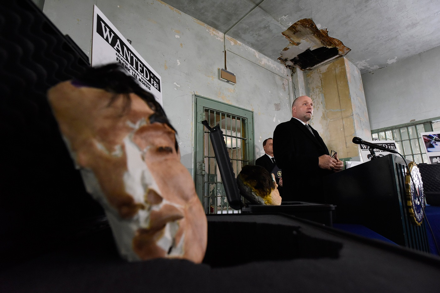 FBI San Francisco Special Agent in Charge John F. Bennett speaks to members of the media during a November 15, 2018 press conference on Alcatraz Island, where the FBI presented the Golden Gate National Recreation Area with 3D printed replicas of the decoy heads used by Frank Morris, Allen Clayton West, and John and Clarence Anglin during their escape from Alcatraz in 1962.