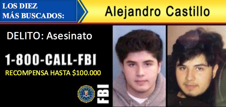 """Alejandro """"Alex"""" Castillo ha sido añadido a la lista de los diez prófugos más buscados del FBI."""