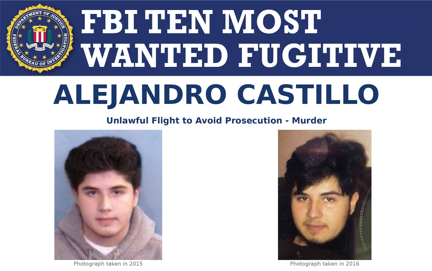 Screenshot of top portion of Ten Most Wanted Fugitive poster for Alejandro Castillo.