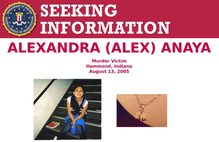 Screengrab of top section of murder victim Alexandra (Alex) Anaya's Seeking Information poster.