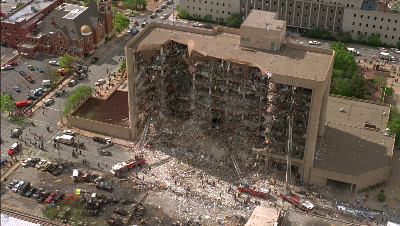 Aerial view of the aftermath of truck bombing of the Aflred P. Murrah federal building in Oklahoma City in April 1995.