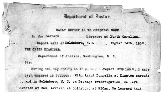 A copy of a 1908 report prepared by Samuel Allred, one of our first agents, on a civil rights investigation.