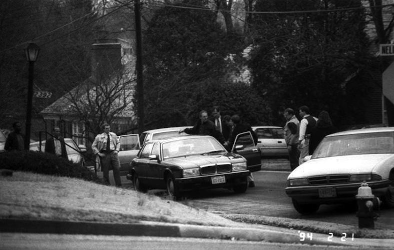 CIA Analyst Aldrich Ames is arrested by FBI agents outside his home on February 21, 1994. Ames provided a wealth of secrets to the Soviets, leading to the compromise of more than 100 U.S. intelligence operations and to the deaths of 10 American assets.