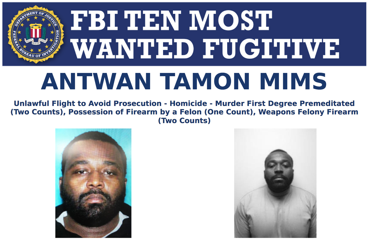Screenshot of top portion of Antwan Tamon Mims' Ten Most Wanted Fugitive poster