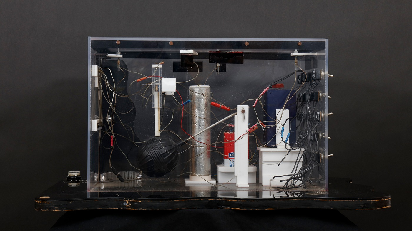 Photo of the trial model of Harvey's Casino Bomb; the actual device was detonated on August 26, 1980, at Harvey's Resort Hotel and Casino in Stateline, Nevada, near Lake Tahoe.