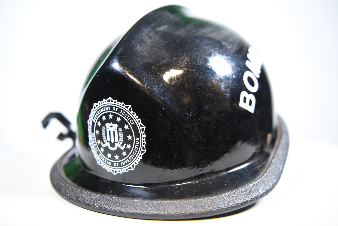 Hard hat worn by FBI Special Agent Black wore while gathering evidence at the scene of the 1995 Oklahoma City Bombing.