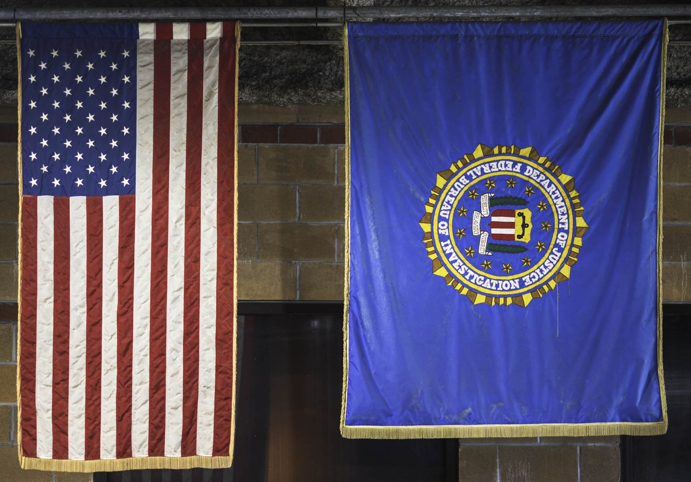 Photo of U.S. and FBI flags FBI SWAT agents hung in remind them of their mission: protect the lives and property of New Orleans' residents.