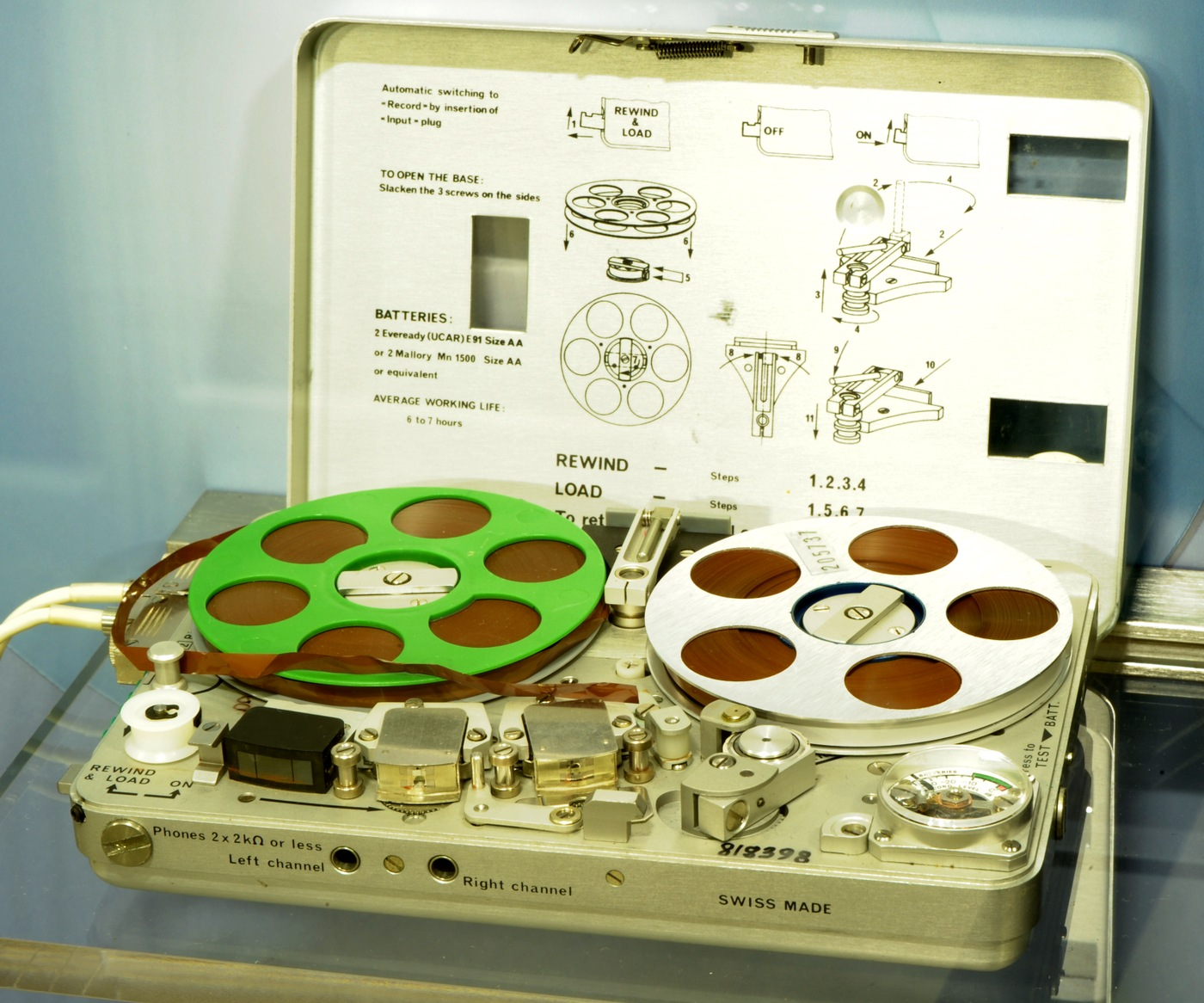 Photo of a a Nagra SNST, a miniature reel-to-reel audio recorder. This one dates back to circa 1975.