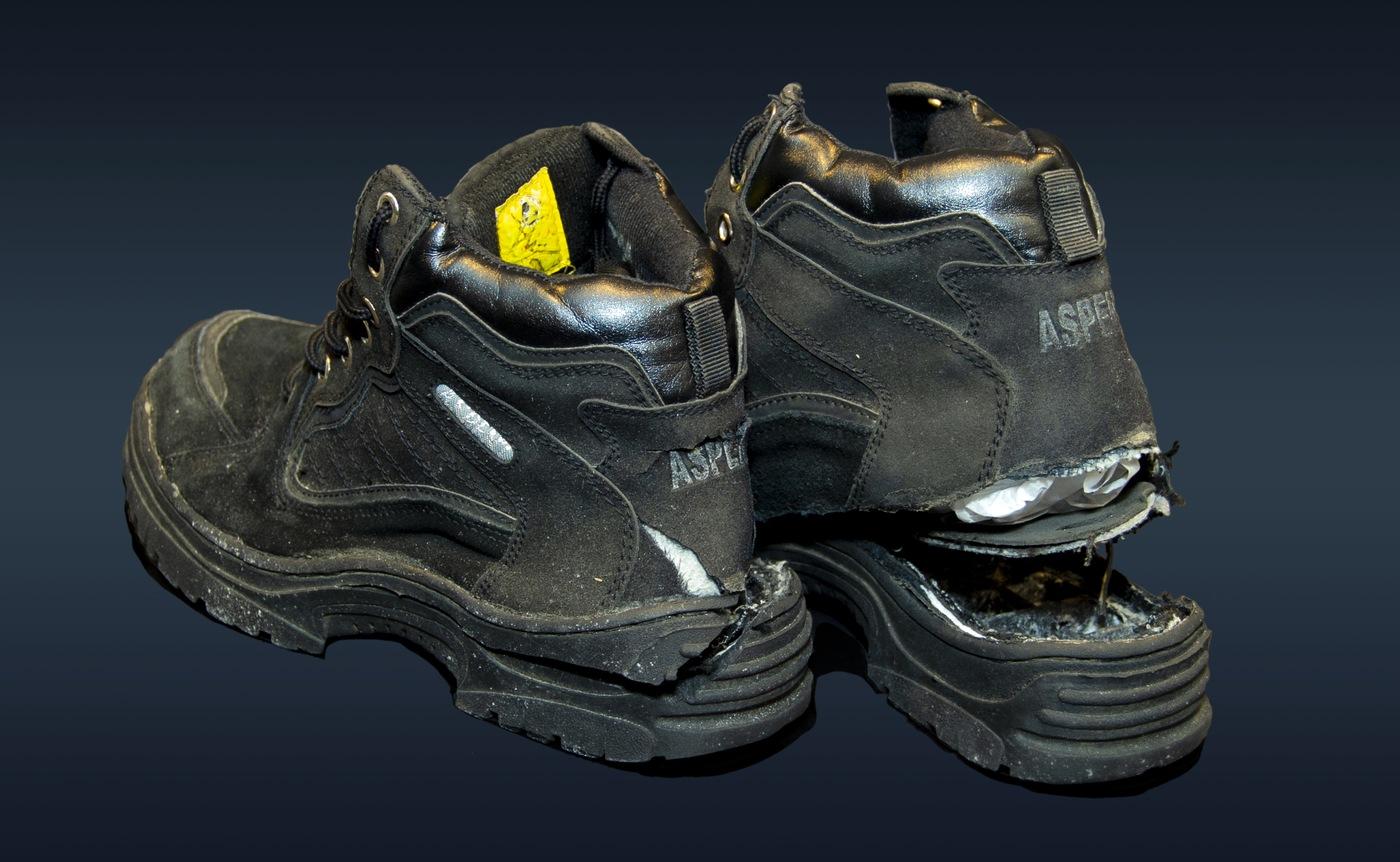 Photo of the pair of shoes Richard Reid—also known as the shoe bomber—tried to detonate on December 22, 2001.