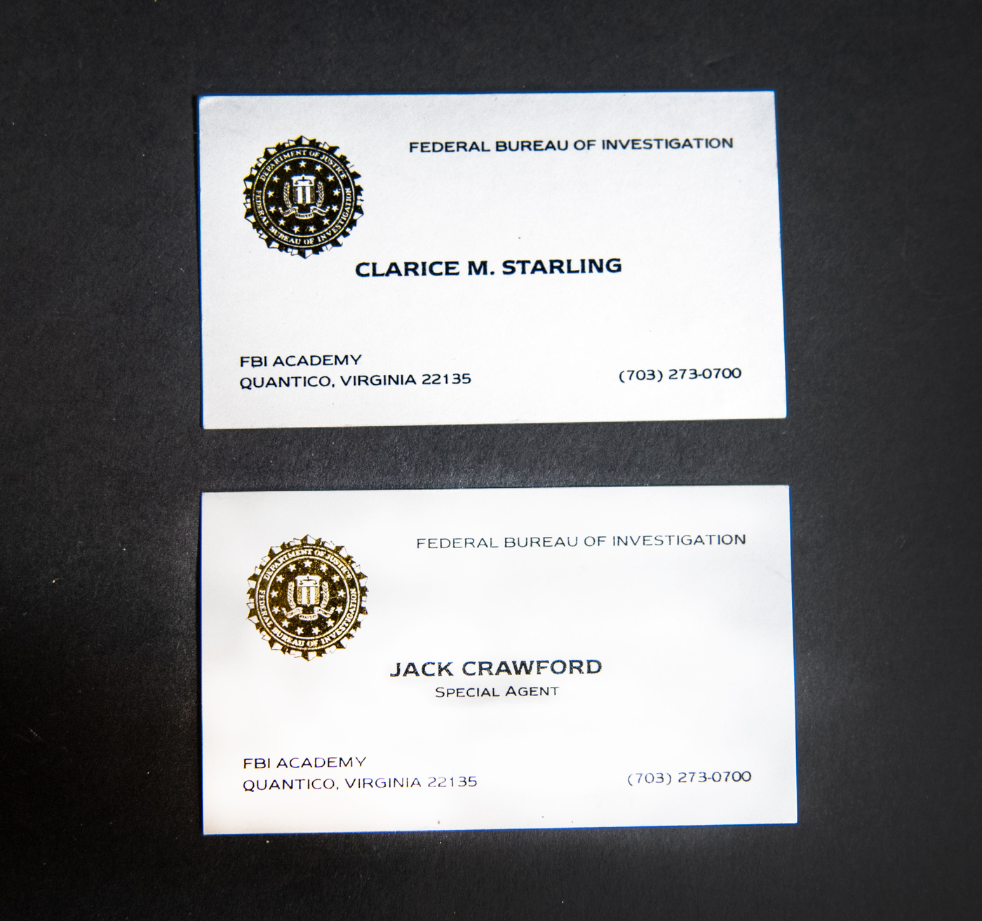 The FBI's February Artifact of the Month is a set of business cards—one for Clarice Starling and one for Jack Crawford. They were one of the many small props to bring authenticity to the set of The Silence of the Lambs.