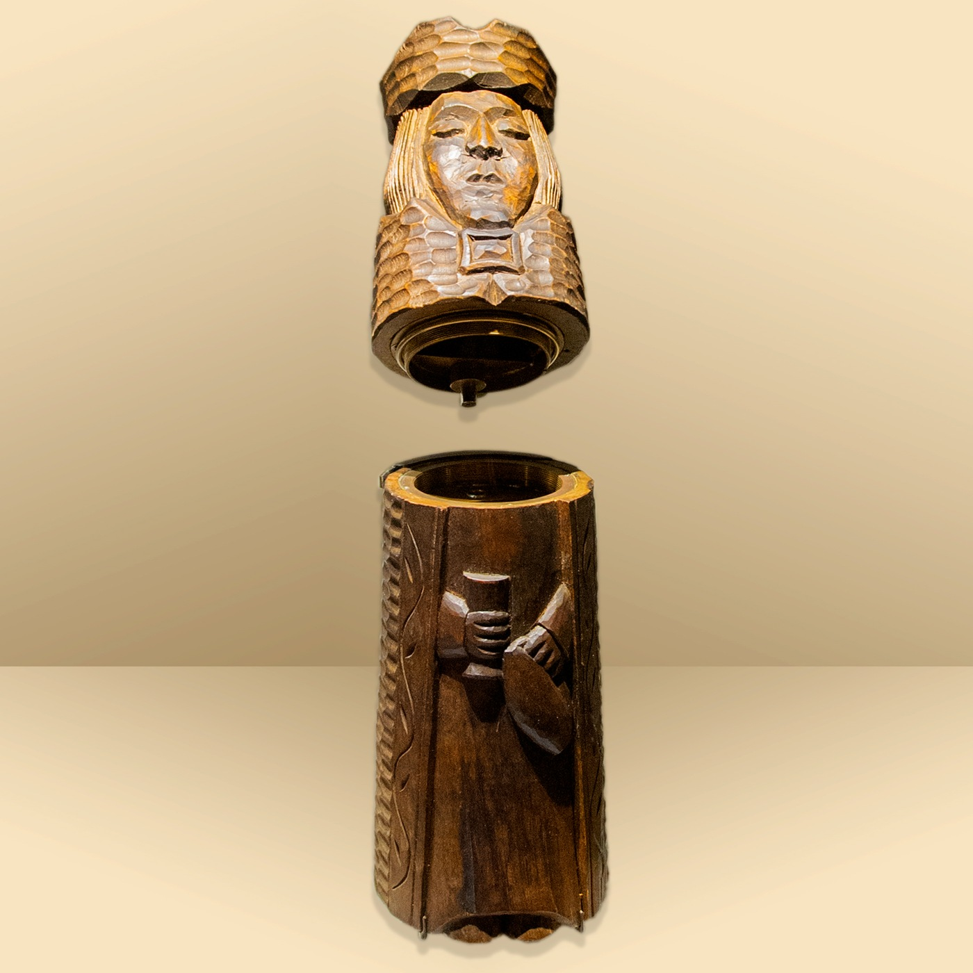 Photo of a concealment device designed to look like a wooden chess piece.