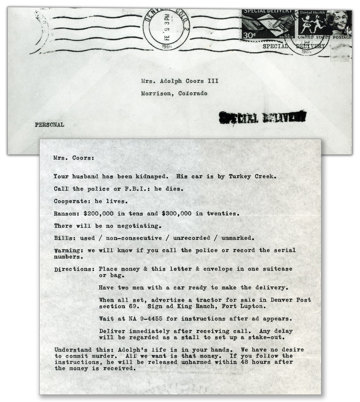 Photo of a typewritten ransom note delivered to Mary Coors, whose husband was kidnapped and murdered in 1960.