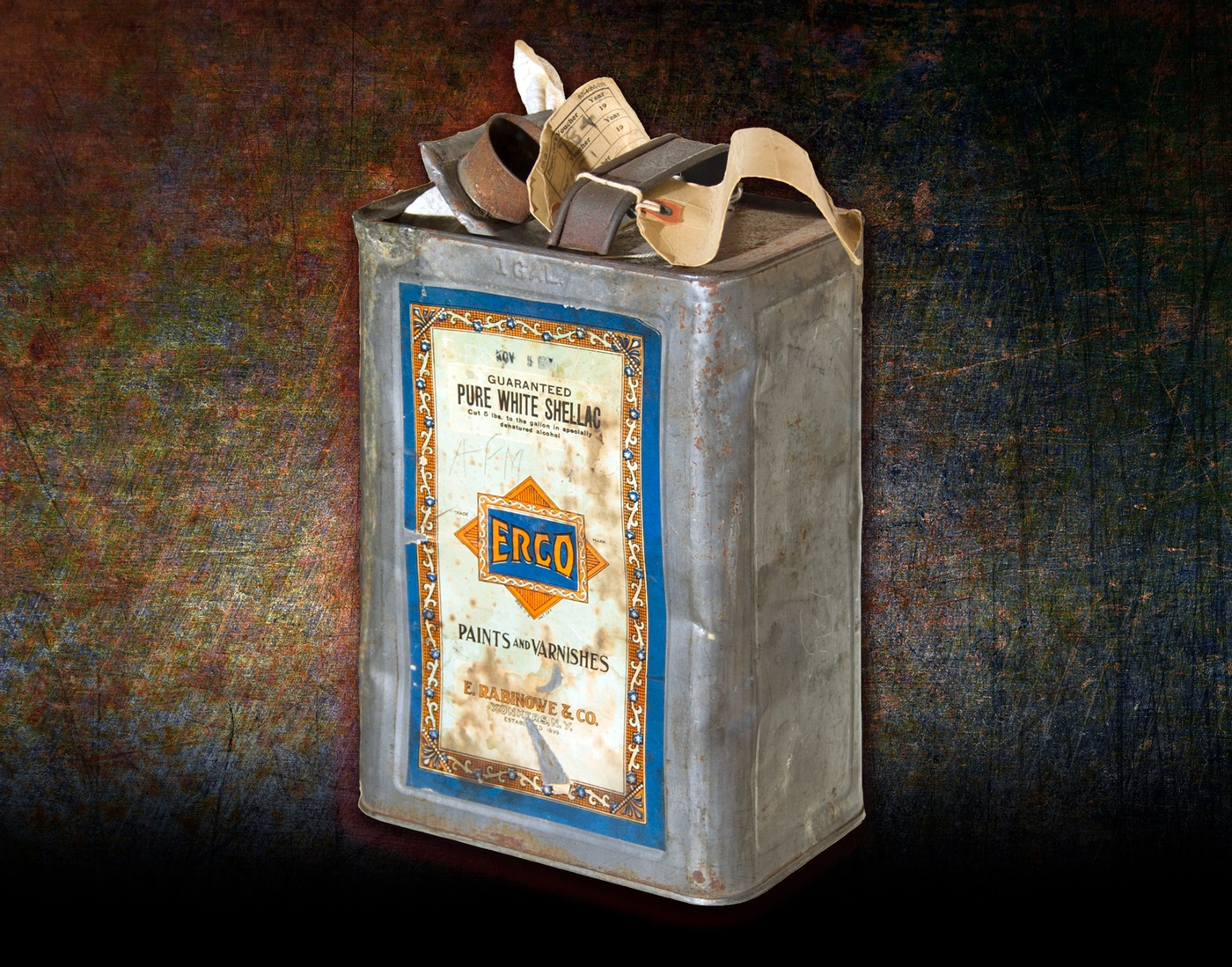 Photo of a gas can found in the garage of Bruno Richard Hauptmann. Gold certificates hidden inside the gas can tied Hauptmann to the Lindbergh kidnapping.