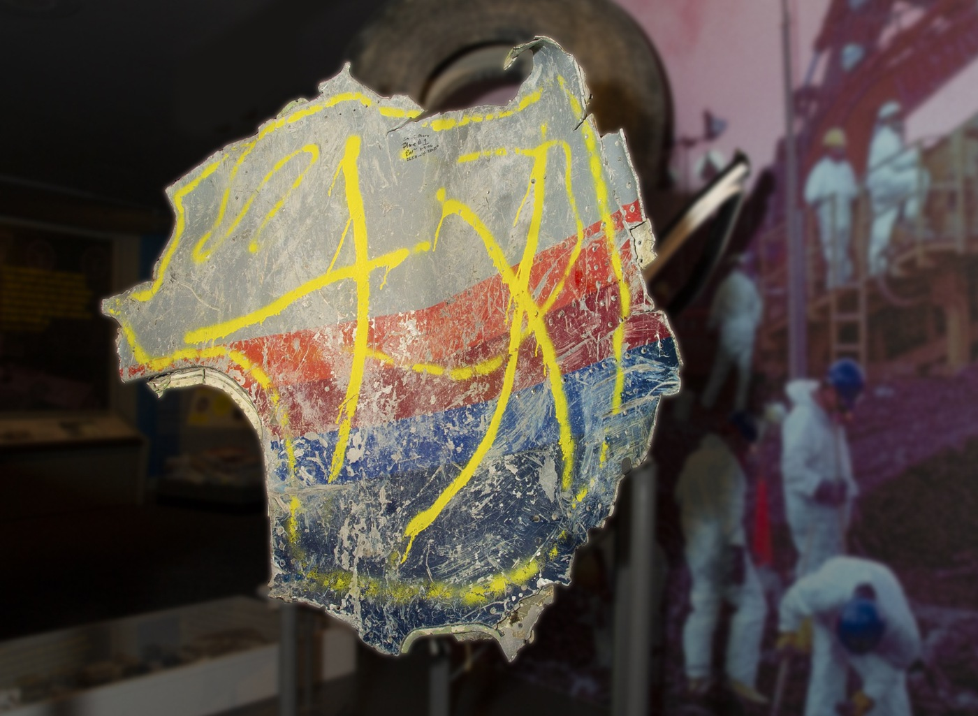 Photo of a portion of the fuselage from United Airlines Flight 175, which hit the World Trade Center south tower in New York City on Sept. 11, 2001.