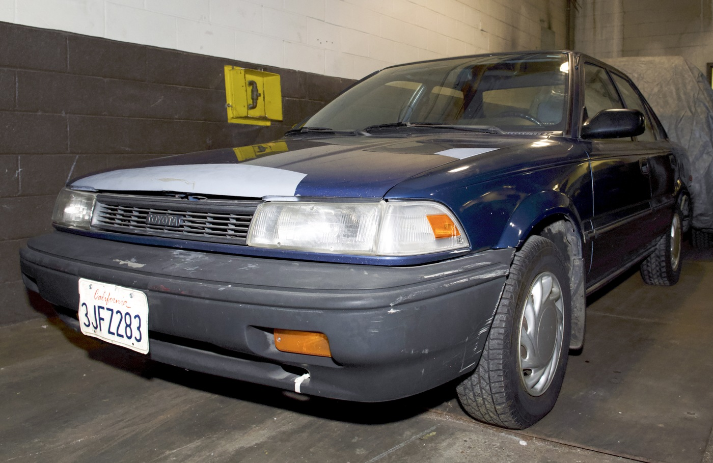 Photo of a blue car with a California license plate, used by a Sept. 11, 2001 hijacker to get to the airport.