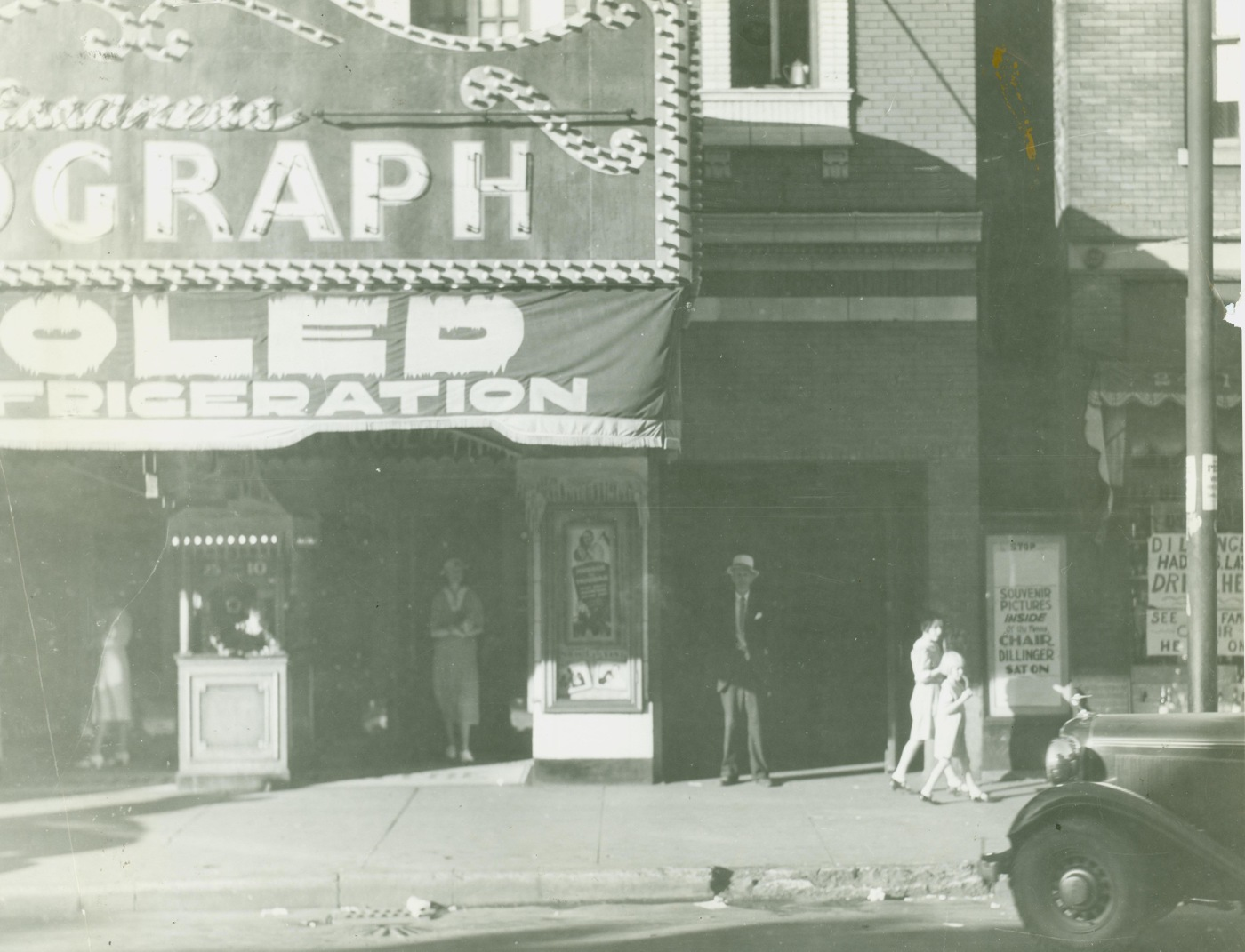 "The Biograph Theater in Chicago, Illinois, where John Dillinger spent the last hours of his life seeing a gangster movie ""Manhattan Melodrama"" with two women companions on the night of July 22, 1934."