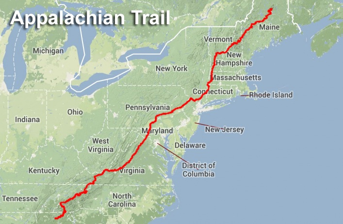 The Appalachian Trail spans 14 states.