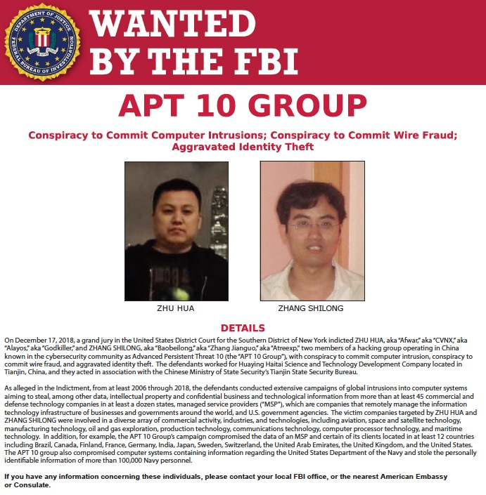 Screenshot of Wanted by the FBI poster for Zhu Hua and Zhang Shilong, two members of a hacking group operating in China known in the cybersecurity community as Advanced Persistent Threat 10 (the APT 10 Group).