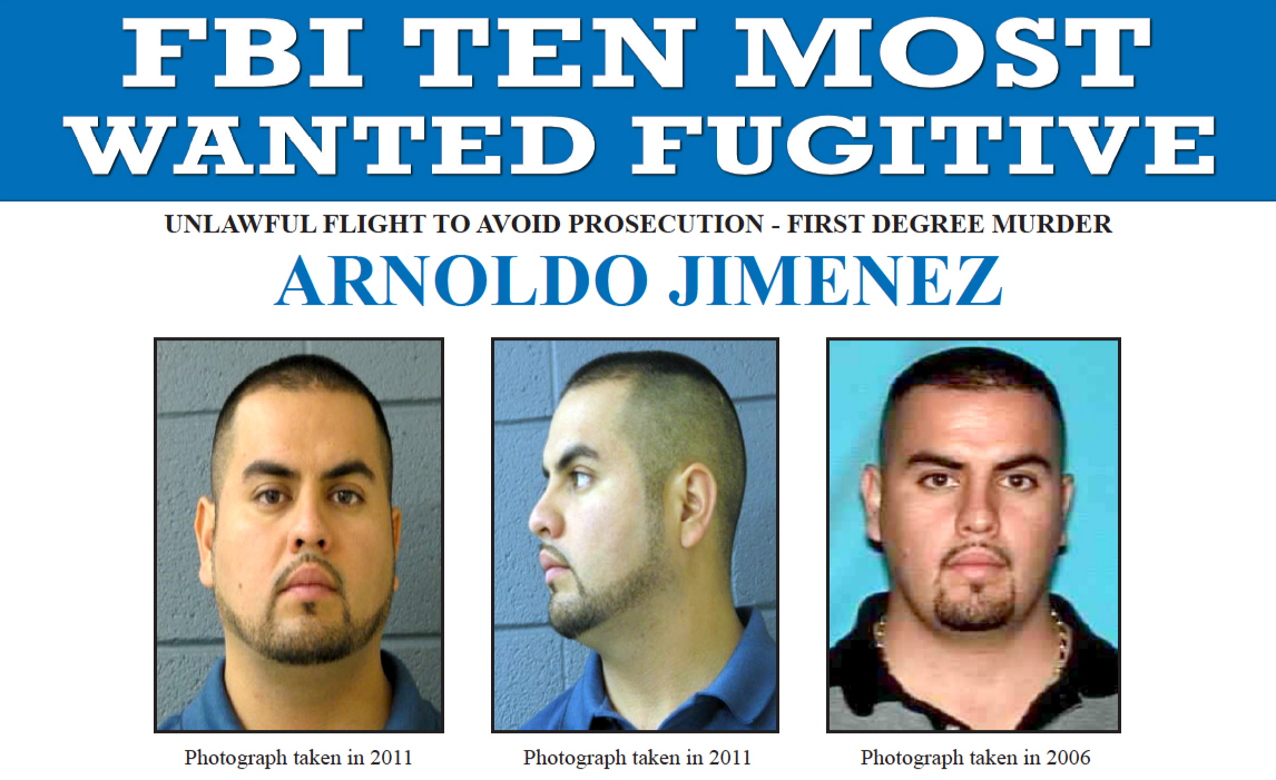 Screenshot of top portion of Arnoldo Jimenez's FBI Ten Most Wanted Fugitive poster displaying three photos and charges of unlawful flight to avoid prosecution, first-degree murder