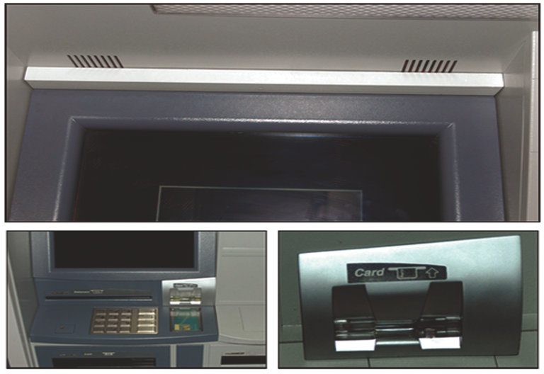 ATM Skimming typically involves the use of hidden cameras (top) to record customers' PINs and phony keypads (right) placed over real keypads to record keystrokes.