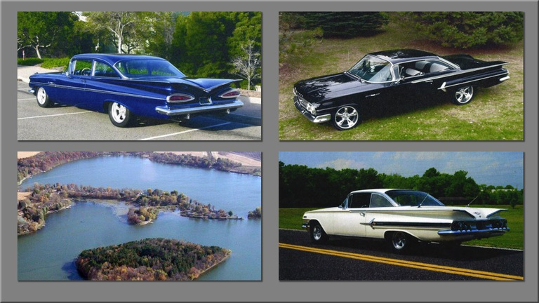 Collage of three vintage cars and a private island in Minnesota purchased by Ronald Johnson with the proceeds from his fraudulent Bakken oil field housing investment scheme.