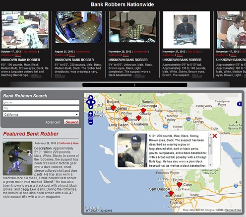 Bankrobbers.fbi.gov features a gallery of suspects and a fully integrated map feature; due to the sensitive nature of these crimes, robbers will not always appear on the map if the location is not publicized.