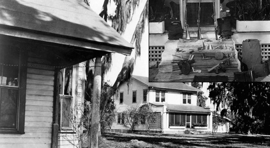 "The Florida home (right) where ""Doc"" and ""Ma"" Barker were killed in a shootout with Bureau agents. Top Right: Cache of Barker weapons recovered by agents after the January 16, 1935 firefight in Ocklawaha, Florida."