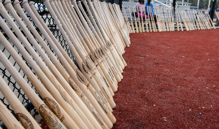Baseball bats seized during a sports memorabilia fraud investigation had their forged signatures removed before being distributed to inner-city youth baseball leagues in Chicago on July 10, 2018.